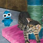 Cute Grey Kitten Looking at a Blue Doll by ibadishi