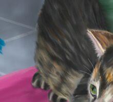 Cute Grey Kitten Looking at a Blue Doll Sticker