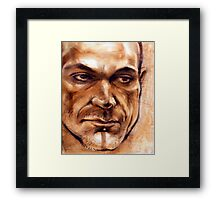 Michel - portrait in conte pencil and pastel Framed Print