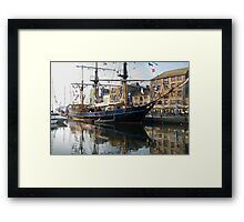 Tall Ship in Barbican Harbour Plymouth Framed Print