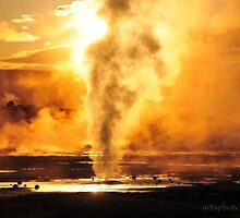 Sunset on Norris Geysers I by artsphotoshop