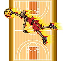 Flying Basketball Photographic Print