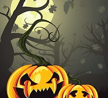 Scary Pumpkins in Forest by AnnArtshock