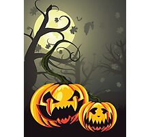 Scary Pumpkins in Forest Photographic Print