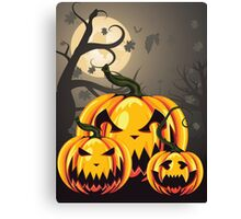 Scary Pumpkins in Forest 2 Canvas Print