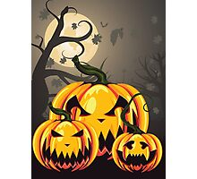 Scary Pumpkins in Forest 2 Photographic Print