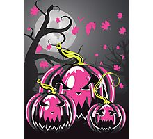 Scary Pumpkins in Forest 3 Photographic Print