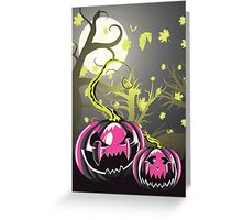Scary Pumpkins in Forest 4 Greeting Card
