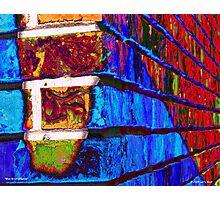 Blue Brick Shadow Photographic Print