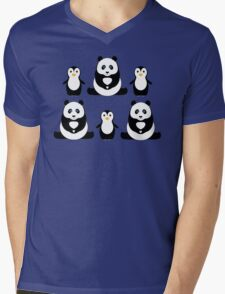 PANDAS & PENGUINS Mens V-Neck T-Shirt