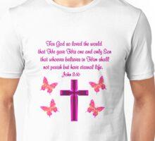 PINK CROSS AND BUTTERFLY JOHN 3:16 DESIGN Unisex T-Shirt