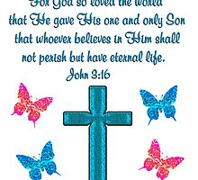 BLUE CROSS AND BUTTERFLY JOHN 3:16 DESIGN by JLPOriginals