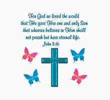 BLUE CROSS AND BUTTERFLY JOHN 3:16 DESIGN Unisex T-Shirt