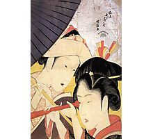 'Young Woman Looking Through a Telescope' by Katsushika Hokusai (Reproduction) Photographic Print