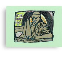 sculpture of the man at a sewing machine Canvas Print