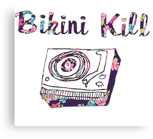 Bikini Kill Purple Floral Riot Grrrl Feminist Design Canvas Print