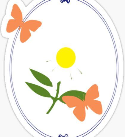 Daisy Butterfly Frame Sticker