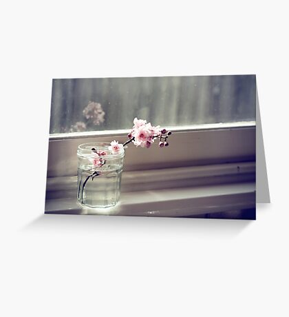 windowsill. first sign of spring. Greeting Card