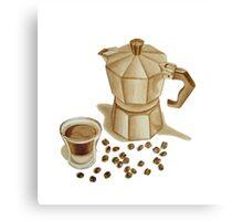 Moka Pot with Espresso Shot Canvas Print