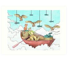 Fish Farmer with owls and a pussycat Art Print