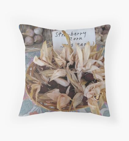 at the farmers market Throw Pillow
