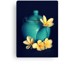 Blue Teapot And Frangipanis Canvas Print