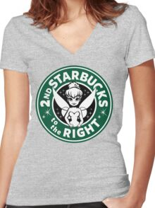 2nd Starbucks to the Right Women's Fitted V-Neck T-Shirt