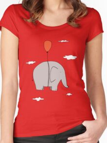 Elephant with a red balloon Women's Fitted Scoop T-Shirt