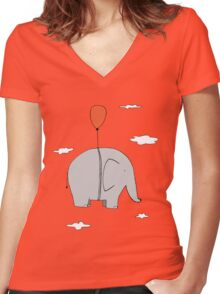 Elephant with a red balloon Women's Fitted V-Neck T-Shirt