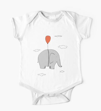 Elephant with a red balloon One Piece - Short Sleeve