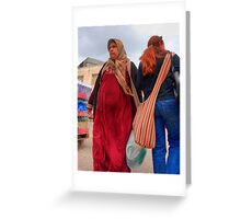 Crossing Paths. A Muslim and Jewish women at the Nazareth  open market, Israel Greeting Card