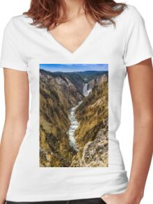 Lower Falls of Grand Canyon of Yellowstone Women's Fitted V-Neck T-Shirt