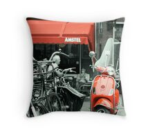 Red Moped Throw Pillow