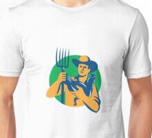Organic Farmer Pitchfork Chicken Retro Unisex T-Shirt