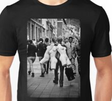 Man Carrying Mannequins in Quito Unisex T-Shirt