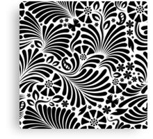 White & Black Floral Baroque Pattern Canvas Print