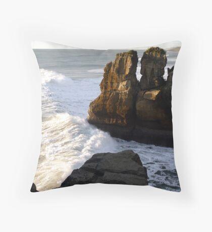 Pancake Rocks...Punakaiki, New Zealand Throw Pillow
