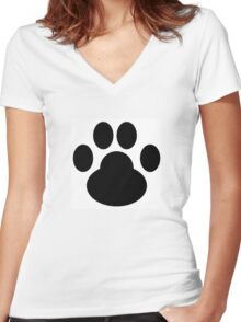 Paw Print - Fur Babies and Fun Women's Fitted V-Neck T-Shirt
