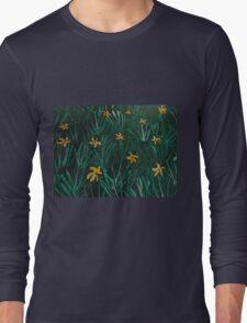 Yellow Flowers  Green Grass Long Sleeve T-Shirt
