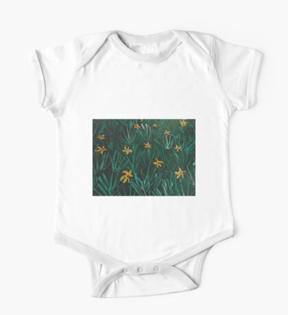 Yellow Flowers  Green Grass One Piece - Short Sleeve