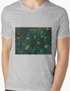 Yellow Flowers  Green Grass Mens V-Neck T-Shirt