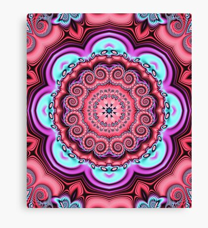 Floral kaleidoscope with fantasy flower Canvas Print