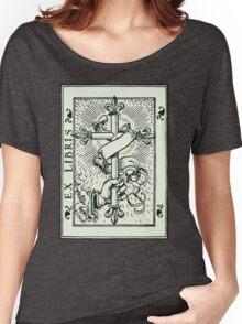 Ex Libris Cross Banner & Fleur De Lys Women's Relaxed Fit T-Shirt