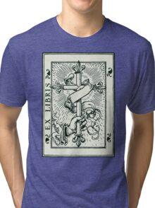 Ex Libris Cross Banner & Fleur De Lys Tri-blend T-Shirt