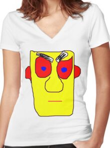 Yellow Face Women's Fitted V-Neck T-Shirt
