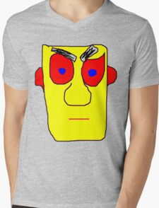 Yellow Face Mens V-Neck T-Shirt