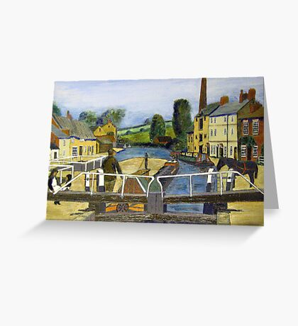 225 - GRAND UNION CANAL, STOKE BRUERNE - OILS -   Greeting Card