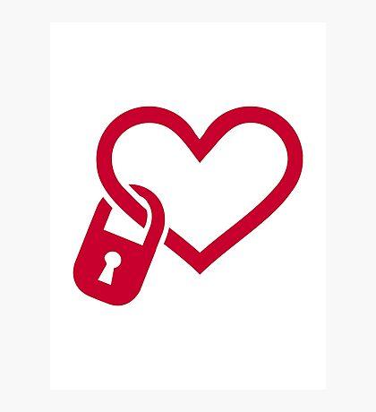 Red heart lock Photographic Print