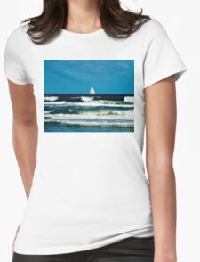 Sail Boat on the Ocean Womens Fitted T-Shirt