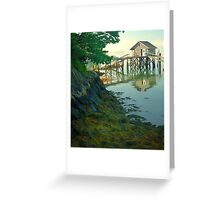 Fisherman's shack and vegetation, Coast of Maine Greeting Card